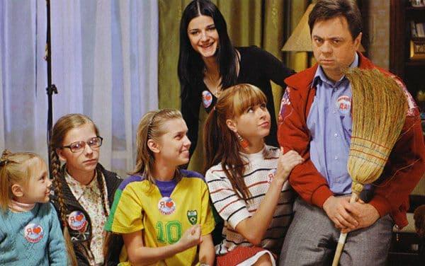 Андрей Леонов на съемках сериала Папины дочки