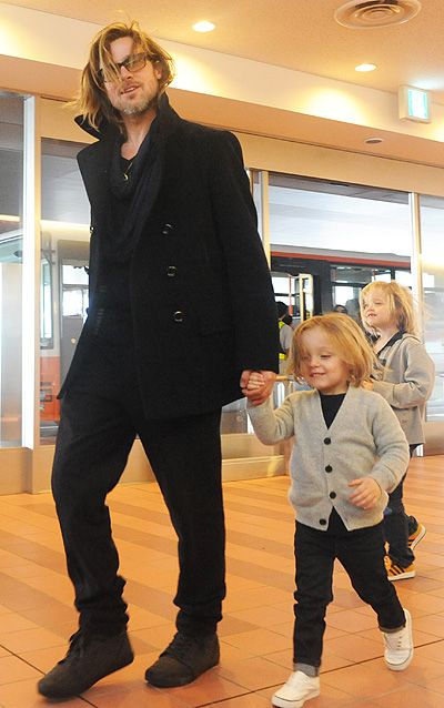 Brad Pitt and Angelina Jolie with Children touched down in Tokyo, Japan