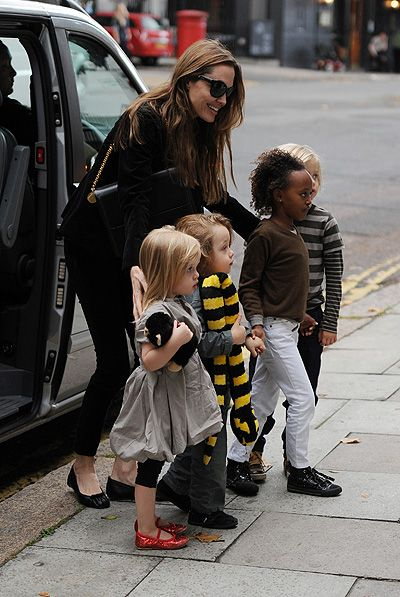 Actress Angelina Jolie and her children visit Gwen Stefani in north London