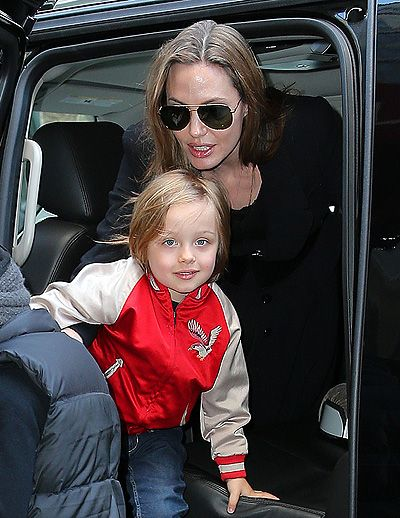 Angelina Jolie takes Vivenne and Pax to FAO Schwarz in NYC