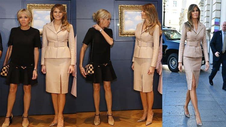 Мелания Трамп и Бриджит Макрон вид сзади и спереди (Фото)